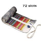 ZhengYue Wrap Leinwand Stifterolle für 48/72 Buntstifte und Bleistifte Stifteetui Roll-up Mäppchen für Künstler, Verpackung Mehrzwecktasche für Reisen/Schule (Tree, 72