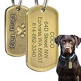Beirui Hundemarke aus Edelstahl, militärische Spezifikation, personalisierbar, mit Gravur, Name + Nummer + Adresse, Kupferprägung, für mittelgroße und große Hunde