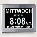 YANSENXING YSX 8' Digital Wecker,Digitaler Kalender Tag Uhr Für Demenz sehschwachen Gelesen Werden, Silver
