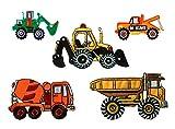 Mono-Quick Nummer 312 Aufbügelbilder Baufahrzeuge Set, 5 teilig, Baufahrzeugmotive, 5,5 x 2,5 cm, bis 8,5 x 5,3 cm, Polyester, Stickerei aus Viskosegarn