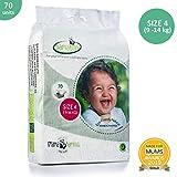 Bamaboo Öko-Windeln, biologisch abbaubar, für Neugeborene zu Kleinkindern, Größe 4 (9-14 kg), 70 Stück, luxuriöses Bambusholz, chlorfrei, hypoallergen ...