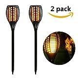 TEQStone Outdoor Solarleuchte, LED Solar Taschenlampe, Garten-Fackeln, Realistischer Flackernder Flammeneffekt, IP65 Wasserdicht (2 Stück)