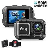 DR.Q Action Kamera 4K 16MP WiFi Ultra HD Sport Kamera 50M Unterwasser Wasserdichte Kamera ohne Gehäuse Weitwinkel Objektiv Camcorder mit Sony-Sensor, Fernbedienung, und Montage Zubehör-Kit (Schwarz)