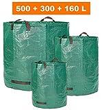 GloryTec 3x Gartensack 160L + 300L + 500L - 3 x Premium Gartenabfallsack im Set - Stabile Gartensäcke aus Extrem Robustem Polypropylen-Gewebe (PP) 150gsm - Laubsack Selbstehend und Faltbar