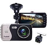 In-Car-Dash-Cam, Podofo Dual Objektiv Full HD 1080P Auto Kamera vorne und hinten DVR Driving Recorder 170 ° Weitwinkel 4.0 'IPS Screen Armaturenbrett Eingebaute Nachtsicht / WDR / G-Sensor / Parkmodus / Bewegungserkennung / Loop Recorder