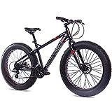 CHRISSON 26 Zoll Fatbike Mountainbike Fahrrad - Fat ONE - Hardtail Fat Tyre Mountain Bike - MTB mit 4.0 fette Reifen und 24 Gang Shimano Schaltung und Zwei Scheibenbremsen