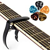Gitarre Capo Trigger Quick Change Gitarre Capos mit Bass Gitarre Akustisch Klassische E-Gitarren Ukulele Gitarre Banjo Mandoline (Schwarz)