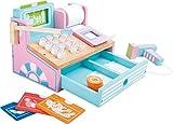 Small Foot by Legler Kasse aus Holz für Kaufmannsläden, mit Scanner, Spielgeld, Kartenleser, drückbaren Knöpfen, Kassenrolle und weiterem Zubehör in Pastellfarben, ab 3 Jahre