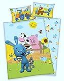 Arle-Living 3 TLG. Baby Bettwäsche Set mit Wende Motiv: Kikaninchen Bauernhof - Renforcé 100x135 cm + 40x60 cm + 1 Spannbettlaken 70x140 cm (mit Laken: grün)