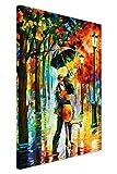 'Dance Under The Rain', Gemälde von Leonid Afremov, Druck auf Leinwand, abstraktes Bild, Wand-Deko, Moderne-Kunst-Poster, canvas holz, 06- A0 - 40' X 30' (101CM X 76CM)