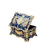 Feyarl Vintage Rechteck Blau Schmuckkästchen Schmuck Box Kunstvolles Antik Finish mit Gravur Trennwände in (Mittel)