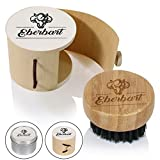 Eberbart Reise-Bartbürste mit 100 % Wildschweinborsten inkl. Transportbox + Gratis-eBook – Ideal für die tägliche Bartpflege (Holzdose)