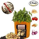 Coeer Kartoffel Pflanzsack, 2er-Pack Kartoffel Grow Bag, 8-Gallonen Pflanzbeutel aus Vliesstoff mit Tragegriffen für Kartoffel/Karotte und mehr (Orange)