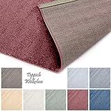 Designer-Teppich Pastell Kollektion | Flauschige Flachflor Teppiche fürs Wohnzimmer, Esszimmer, Schlafzimmer oder Kinderzimmer | Einfarbig, Schadstoffgeprüft (Rot, 200 x 200 cm)