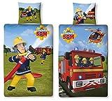 Wende Bettwäsche Feuerwehrmann Sam, 135 x 200 cm 80 x 80 cm , 100% Baumwolle, Linon 2 Motive auf einer Bettwäsche