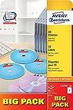 Avery Zweckform L7676 After Burner CD Etiketten Super Size Durchmesser 117mm weiß matt 40 Etiketten