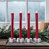 Lights4fun 4er Set rote LED Stabkerzen mit Fernbedienung Echtwachs warmweiß batteriebetrieb 25cm