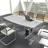 EASY Konferenztisch Bootsform 200x100 cm Lichtgrau Besprechungstisch Tisch, Gestellfarbe:Silber