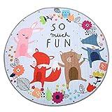 Jeteven Baby Krabbeldecke Matt Kinderzimmer Kinderteppich, groß und weich gepolstert mit AU Aufbewahrungsbeutel, ca.150cm, Muster: Fuchs