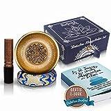 Original Tibetisches Klangschalen Geschenk Set 13cm Premium + gratis eBook - Handgefertigt aus Nepal - Lokta Box mit Klangschalenkissen & Klöppel - Singing Bowl von Wayford für Meditation Entspannung