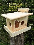 Eichhörnchenfutterhaus Eichhörnchen Haus Premium XXXL Eichhörnchenhaus Futterautomat Futterhaus Nistkasten Kobel aus Kieferholz Holzschindeldach Vogelhaus mit oder ohne Ständer