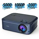 Beamer Full HD Native 1080P LCD LED Beamer 50000 Stunden für Heimkino Office Powerpoint Präsentationen kompatibel mit HDMI / VGA / Y.Pb.Pr/ AV / USB - Blau
