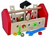 Eichhorn 100028103 - Werkzeugkasten, 30-teilig, 11 x 22 x 12 cm, inklusive Werkzeug, Schrauben und Bauelementen - Kompatibel mit Heros Constructor - Buchenholz, Made in Germany