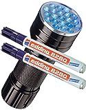 Doppelpack edding Spezialmarker edding 8280 securitas UV marker, 1,5 - 3 mm, farblos + eine UV LED Lampe