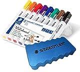 Staedtler Lumocolor 351 WP8 Whiteboardmarker, Rundspitze, 2 mm, aufstellbare Box mit 8 farben + original Staedtler Löscher