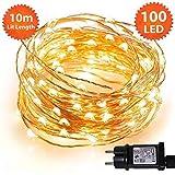 Weihnachtslichterkette 100 LED-Innenbeleuchtung für Weihnachten, rote Micro-Lichterketten - sicheres Niederspannungsnetzteil - 10m / 33ft Beleuchtete Länge mit 3m / 10ft Silberkabel -1 Jahr Garantie