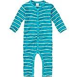 wellyou, Schlafanzug, Pyjama  Jungen und Maedchen, Einteiler langarm, Baby Kinder, tuerkis weiss gestreift, geringelt, Feinripp 100% Baumwolle, Gr 80-86