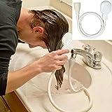 fasloyu tragbar Handbrause mit Schlauch 1.1M, Universal Duschen Komponenten 26060000/handheld-shower für Haar Hund Pet Dusche Spray Abläufe Sieb Badewanne Waschbecken Wasserhahn Wasch-Set, LED, weiß, M