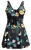 Ecupper Damen Badekleid Blumen Muster Gepolstert Badeanzug mit Shorts Bademode Große Größen Schwarz Blumen 3XL