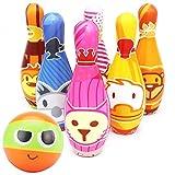 Bowling Set Kegelspiel Kegeln Spiel mit Ball und 6 Kegel Interaktiv Spielzeug für Kinder Drin und Draußen