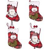 INTVN Weihnachtsstrumpf, Christmas Stocking Weihnachten Strumpf Beutel Weihnachtssocke Nikolausstiefel Weihnachtsdeko zum Befüllen und Aufhängen, 4 Stück