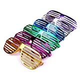 S/O 6er Pack Partybrille metallic 6 Farben Partybrillen Bunt Gitterbrille Spaß Spass Brille Atzen Brillen Party Brille