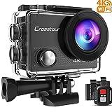 Crosstour Action Cam 4K WIFI Camera 16MP Ultra Full HD Unterwasser Kamera Helmkamera Wasserdicht mit 2.4G Fernbedienung 2 verbesserten Akkus und Montage Zubehör Kit