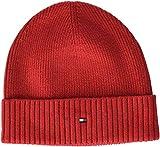 Tommy Hilfiger Herren Strickmütze PIMA Cotton Cashmere Beanie, Rot (Tommy Red 614), One Size (Herstellergröße: OS)