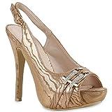 Damen Plateausandaletten Sandaletten Plateau Denim High Heels Peeptoes Party Sommer Stilettos Schuhe 129628 Rose Gold Schnalle 39 Flandell