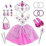 Tagitary 21 Stück Prinzessin Kostüme Zubehör Mädchen Dress up Zubehör Set für Party, Cosplay mit Krone, Handtaschen, Zauberstäbe, Armbändern, Ohrringen, Ringen, Halsketten, Kleid und Schuhen (Rosa)