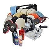 Kingbarney XXXL Profiset - Poliermaschine/Schleifmaschine inkl. Koffer 1500 Watt Set 4 + Polierschwamm Zubehörset - inkl. Politur - 30 Teile - Auto polieren