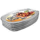 20 Servierplatten, oval aus Aluminium, Einweg Alu Servier-Schalen, perfekte Aluschalen für Hochzeit, Catering, Gastro oder Party (35 x 23 cm)