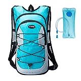 haoYK wasserdichter Rucksack, 12 l, leicht, reflektierend, zum Laufen, Skifahren, Wandern, Fahrrad fahren, Wasserblase (2 l), blau