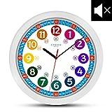 Cander Berlin MNU 1030 Kinderwanduhr (Ø) 30,5 cm Kinder Wanduhr mit lautlosem Uhrenwerk und farbenfrohem Design - Ablesen der Uhrzeit lernen