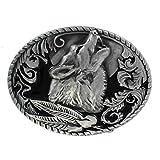 eeddoo Gürtelschnalle - Heulender Wolf - Western - Biker Buckle (Buckle für Wechselgürtel für Damen und Herren   Belt Frauen Männer Oldschool Rockabilly Metall Biker Western Trucker Casino Skull)