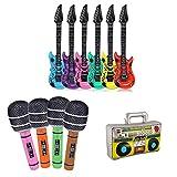 VGoodall Aufblasbare Rock Star Toy Set, 11 Stück Aufblasbare Instrumente Spielzeug Luftgitarre Inflatable Gitarre Partyzubehör