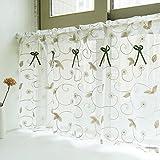 Amerikanisches Land Art gestickten Gaze Vorhang Bistrogardine Küchengardine Scheibengardine, BxH 90x45cm, Khaki