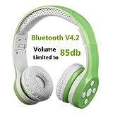 Bluetooth Kopfhörer Kinder, Hisonic Bluetooth Kopfhörer für Kinder mit Laustärkebegrenzung Gehörschutz & Musik-Sharing-Funktion, Eingebautes Mikrofon für die Freisprechfunktion. (Grün)