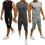 Herren Gym Outfit Set ärmellose Slim Fit Weste Tank Tops elastische Taille Taschen Shorts Training Stringers Bodybuilding Fitness Sport Kleidung Set (M, dunkelgrau)