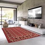 Teporio Orient-Teppich Marrakesh | Stilvoll Orientalisch Fürs Wohnzimmer, Schlafzimmer, Kinderzimmer | Schadstoffgeprüft, Allergikergeeignet (Rot, 80 x 150 cm)